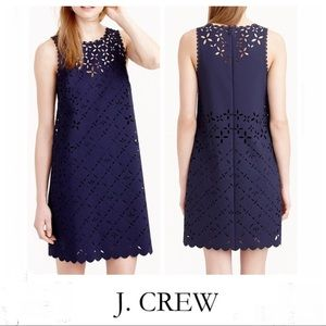 J.CREW Navy Blue Floral Laser Cut Dress Sz 6